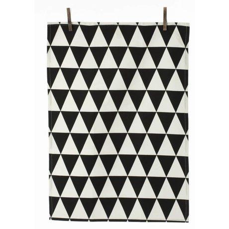 Ferm Living Theedoek triangle zwart-wit katoen 50x70cm