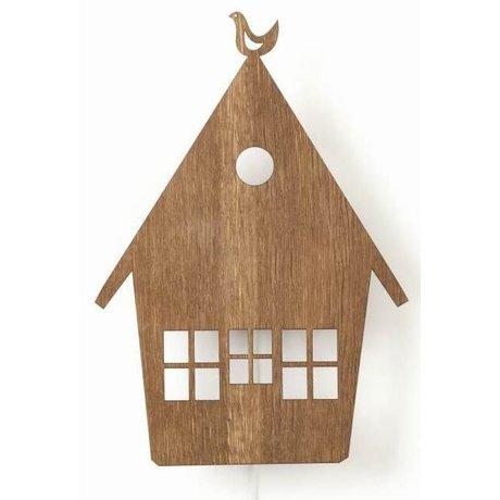 Ferm Living Wandlamp huis bruin hout 10x25cm, House lamp