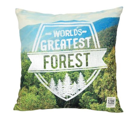Storebror Sierkussen Forest groen blauw katoen 50X50cm