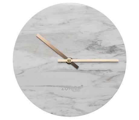 Zuiver Klok Marble met goud koperen wijzers Ø25x4,5cm