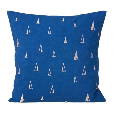 Ferm Living Sierkussen Cone blauw katoen 40x40cm