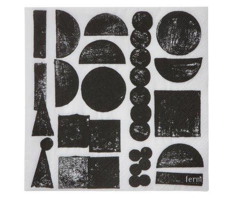 Ferm Living Servetten Stamp zwart grijs set van 20 stuks 16,5x16,5cm