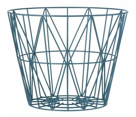 Ferm Living Mand petrol blauw ijzer 3 maten 40x35cm,50x40cm,60x45cm Wire basket