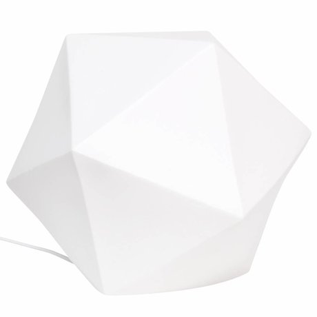 HK-living Tafellamp geo porselein wit 30x30x30cm L