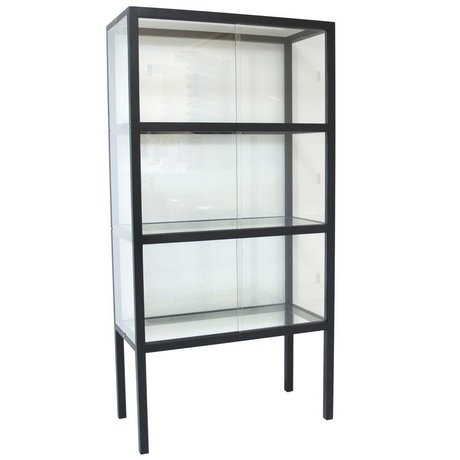 HK-living Vitrinekast glas/hout zwart 75x36x148cm