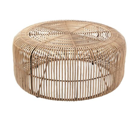 HK-living Salontafel rotan licht naturel bruin 85x85x38cm