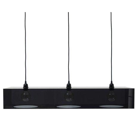 HK-living Hanglamp 3 fitting plexi glas zwart 100x31x15,5cm