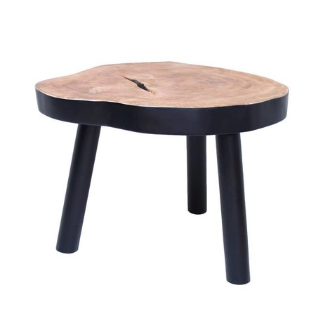 HK-living Salontafel boom L hout zwart 65x65x46cm
