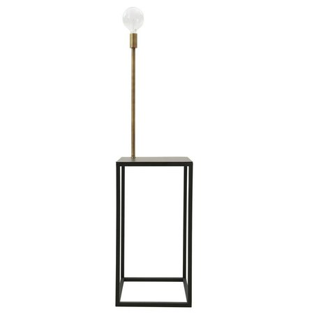 Housedoctor Staande lamp/bijzettafel zwart goud 40x40x145cm