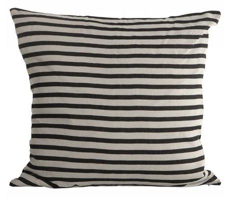 Housedoctor Sierkussen hoes Stripes zwart grijs linnen 50x50cm