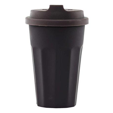 Nicolas Vahe Koffie mok TO GO bruin/ aubergine keramiek 275ml