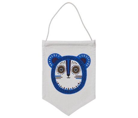 Ferm Living Vlaggetje Billy Bear blauw 24x35cm