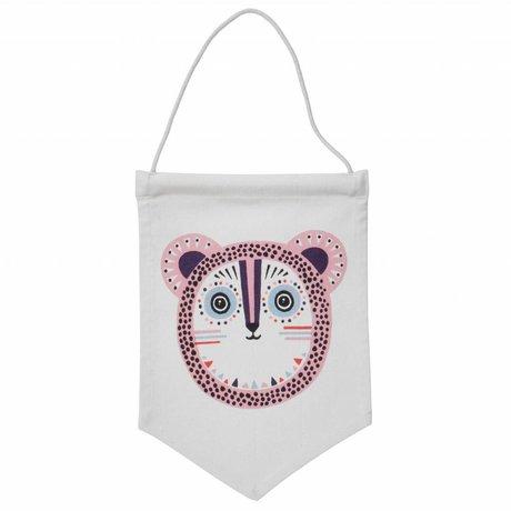 Ferm Living Vlaggetje Billy Bear roze 24x35cm
