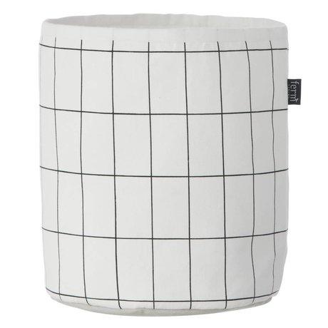 Ferm Living Mand Grid Basket zwart wit small 22x25cm