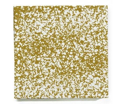 Ferm Living Servetten Splash goud wit set van 20 stuks 16,5x16,5cm