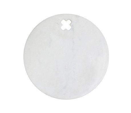 HK-living Broodplank rond marmer met kruis 28x28x1,5cm