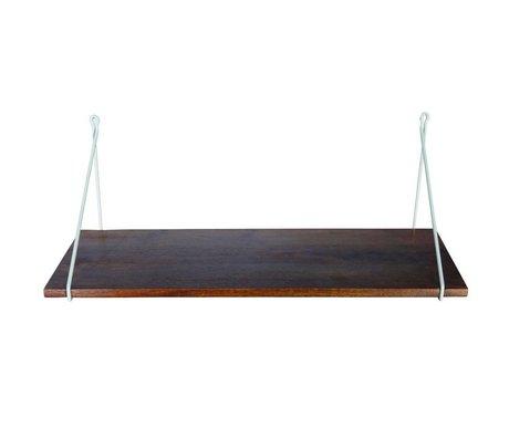 Housedoctor Wandplank mango hout met grijze ijzeren hanger 24x70cm