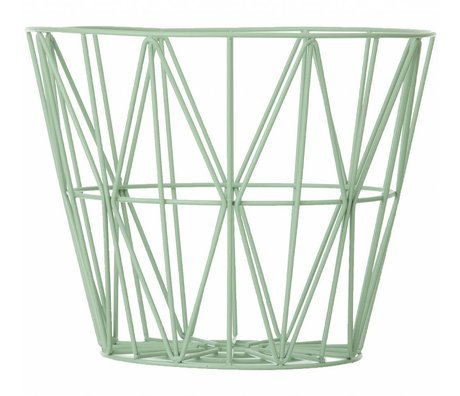 Ferm Living Mand mint groen ijzer 3 maten 40x35cm,50x40cm,60x45cm Wire Basket