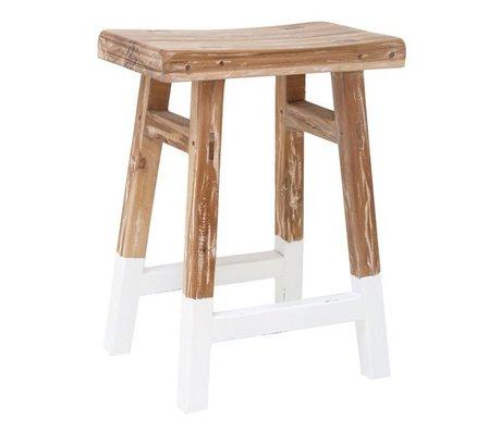 HK-living Kruk reclaimed teak hout met witte dip 25x42x54cm