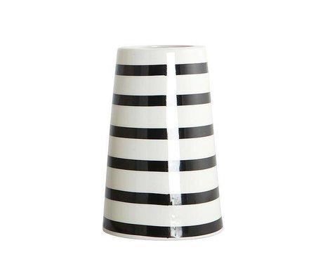 Housedoctor Vaas SAILOR porselein zwart wit stripes ø6-9,5xh15cm