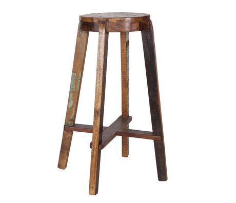 LEF collections Barkruk 'Inca' houten bar stoel 52x52x76cm