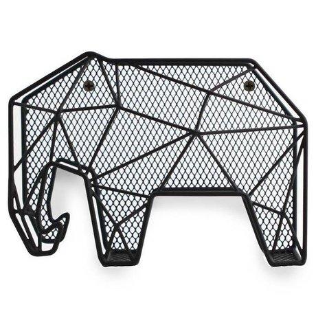 LEF collections Brievenhouder organizer Olifant zwart metaal L20xH14,7xD8,8cm