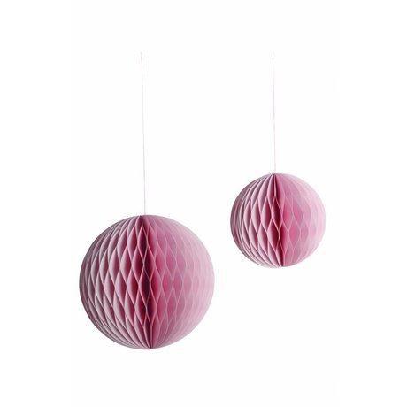 Housedoctor Papieren ornament set van twee Ø12.5 en 18 cm paper art, roze