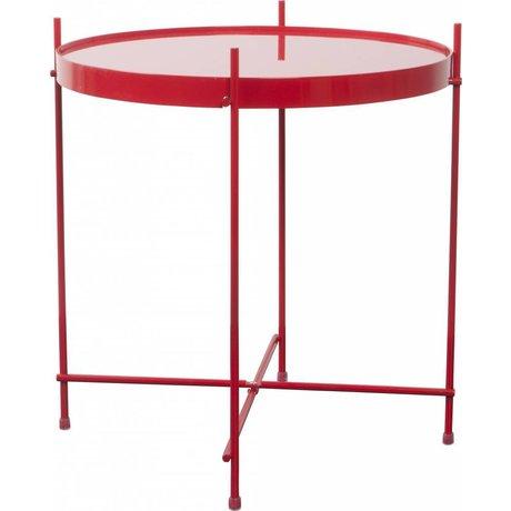 Zuiver Bijzettafel 'Cupid' rood metaal glas Ø43x45cm