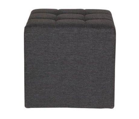 LEF collections Poef 'Tijmen' warm grijs textiel 47x45x45cm