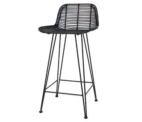 HK-living Barkruk naturel zwart rotan 88x47x46cm rotan bar stoel