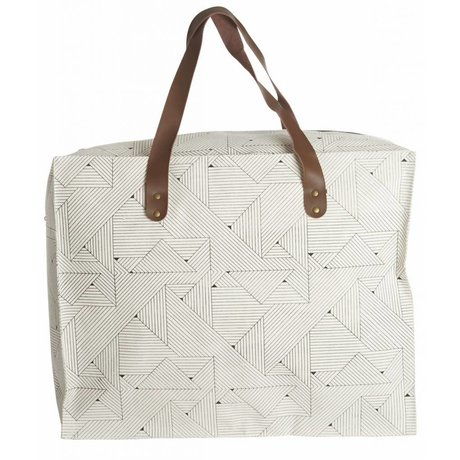 Housedoctor Tas opberger 'Triangular' 50x25x40cm , zwart/wit, katoen/polyester/rayon