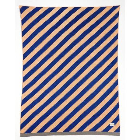 Ferm Living Deken 'Little stripe' roze/blauw katoen 80x100cm
