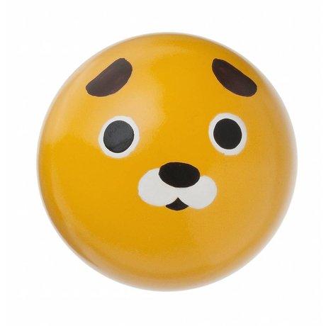Ferm Living Wandhaakje 'Dog hook' geel hout Ø5cm