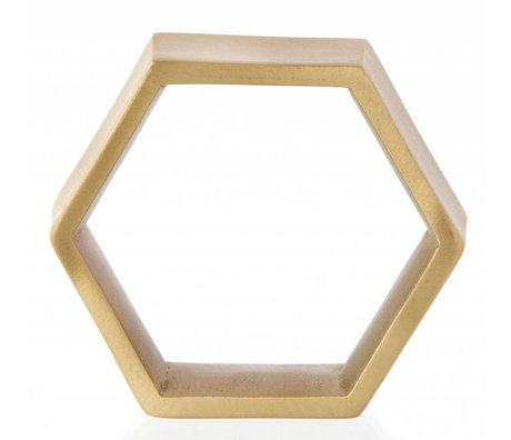 Ferm Living Servetringen set van vier Hexagon napkin rings messing 6.5x5.5x2cm