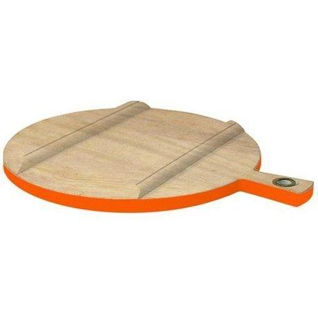 HK-living Broodplank rond hout medium naturel/fluor oranje Ø36cm