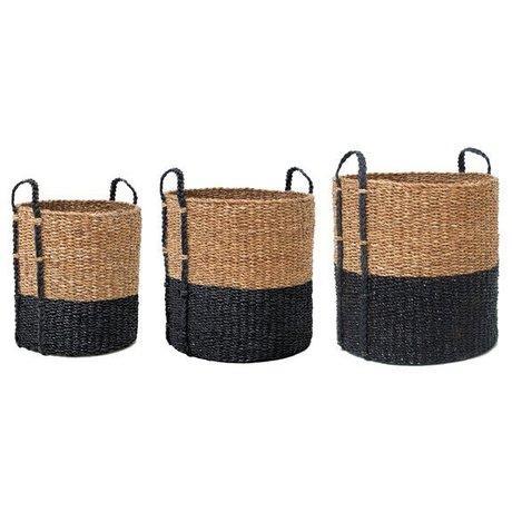 HK-living Wasmanden rotan set van drie bruin/zwart Ø 30,46 en 57cm