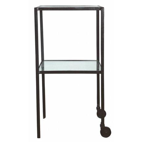 Housedoctor Trolley vierkant metaal/glas zwart 40x40x80cm