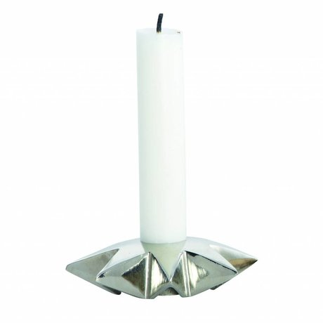 Housedoctor Kandelaar 'Star' aluminium zilver Ø9.5xh2.5 cm