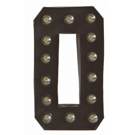 Housedoctor Wandlamp 'Letter O' zwart metaal 28x12 h50cm