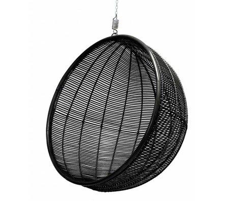 HK-living Hangstoel bal rotan zwart 108cm