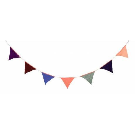 Ferm Living Slinger gebreid 240cm multicolor acryl 'Happy Flags - Peach'
