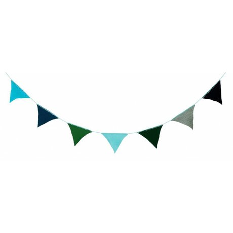 Ferm Living Slinger gebreid 240cm multicolor/ blauw acryl 'Happy Flags - Blue'