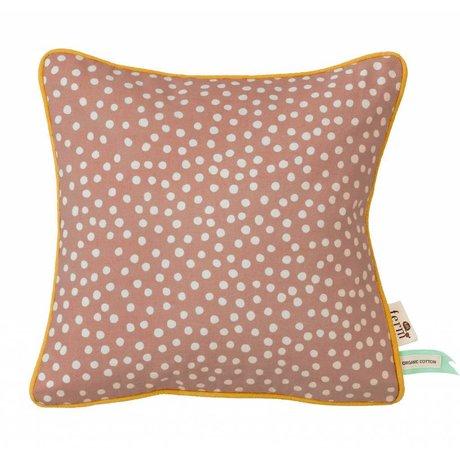 Ferm Living Kussen Dots roze katoen 30x30cm incl. vulling