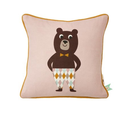 Ferm Living Kussen Bear roze katoen 30x30cm incl. vulling
