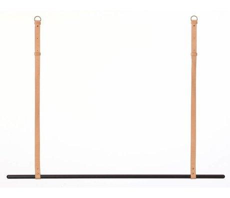 Ferm Living Kledingrek/kapstok metaal/leer zwart/bruin L135 cm x 87-107cm