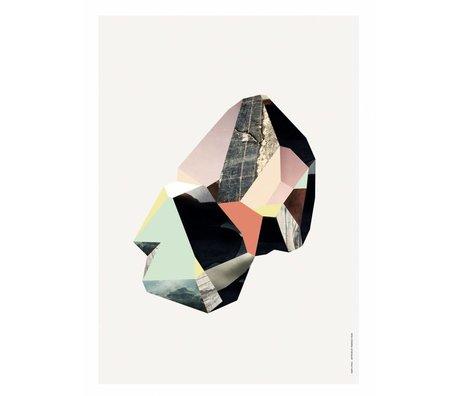 Ferm Living Paneel met illustratie Quartz -4 berken multiplex wit/multicolor 29,7x42 cm
