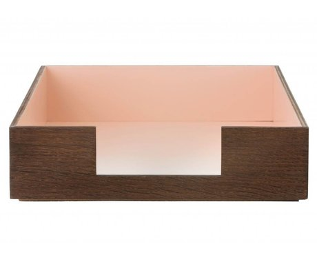 Ferm Living Postbak bruin/roze multiplex 24x33cm, Letter tray rose