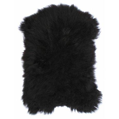 HK-living Schapenvacht zwart +/-100X90cm, IJslandse schapenvacht zwart