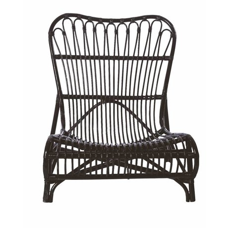 Housedoctor Stoel zwart bamboe 90x55x80cm, Chair Lounge Colone black