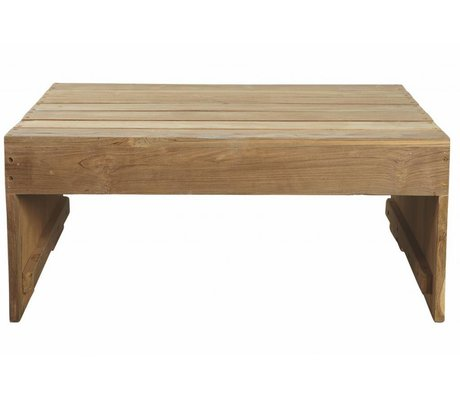 Housedoctor Salontafel bruin teak hout 82x70x35cm, Table Woodie teak outdoor